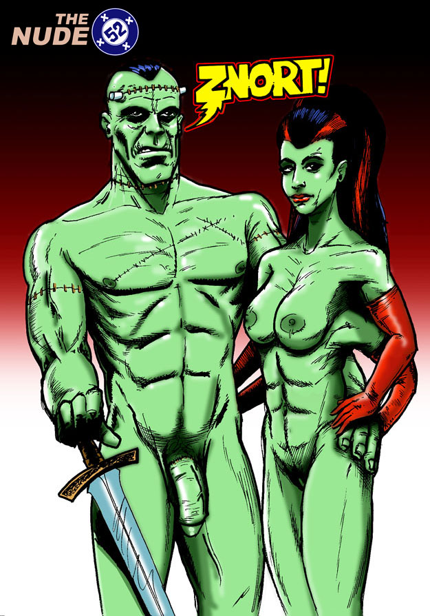 nude Frankenstein and Bride